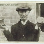 A West Hartlepool gentleman displays the remains of one of the German shells fired on this town in 1914