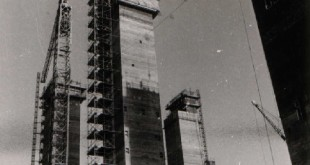 Completed main towers with slipforming of mini-towers at the top