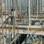 Detail of jack, reinforcing steel and formwork on top of a mini-tower - 1970