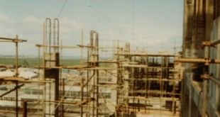 Preparation for high level reinforced concrete structural work at the west elevation of the Reactor Hall
